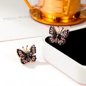 2/$20! Gold & Crystal Butterfly Stud Earrings